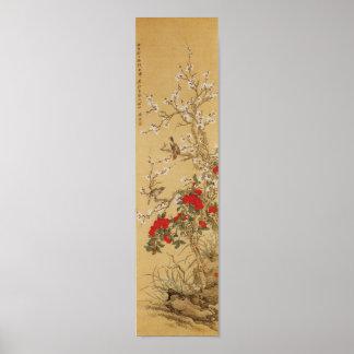 Pájaros y flores japoneses del vintage póster