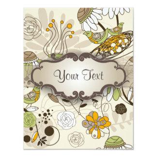 Pájaros y flores verdes en moreno con el letrero invitacion personalizada