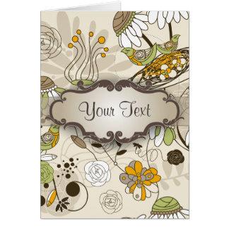 Pájaros y flores verdes en moreno con el letrero tarjeta pequeña