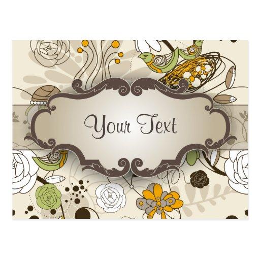Pájaros y flores verdes en moreno con el letrero postal