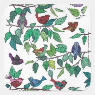 Pájaros y pegatina cuadrado de las hojas