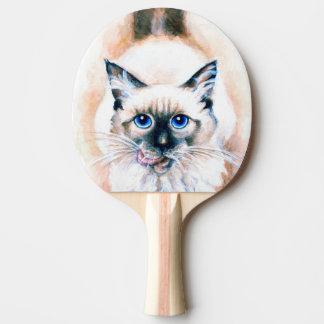 Pala De Ping Pong Acuarela del gato siamés