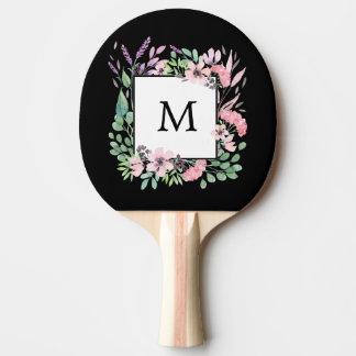 Pala De Ping Pong Acuarela hermosa floral en negro con el monograma