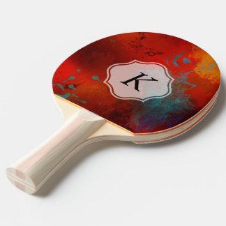 Pala De Ping Pong Arte abstracto de Digitaces del Grunge rojo del