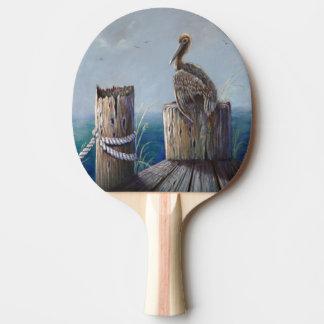 Pala De Ping Pong Arte de acrílico del océano del pelícano de Brown