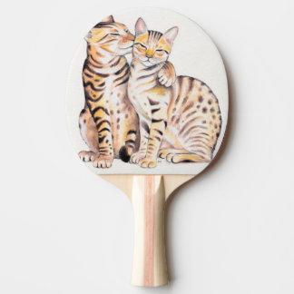Pala De Ping Pong Arte lindo de la acuarela de dos gatos de Bengala