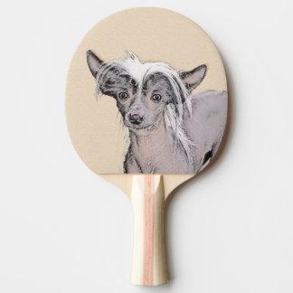 Pala De Ping Pong Arte original del perro de la pintura sin pelo con