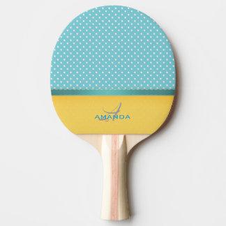Pala De Ping Pong Azul de océano, playa soleada, monograma de plata