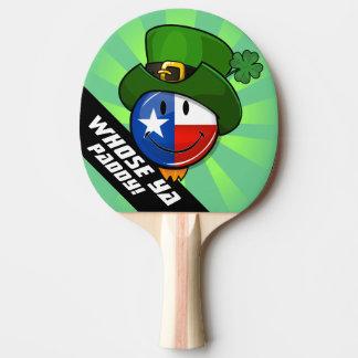 Pala De Ping Pong Bandera sonriente del Texan con el día de St
