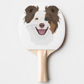 Pala De Ping Pong Border collie feliz de la cara de los perros del