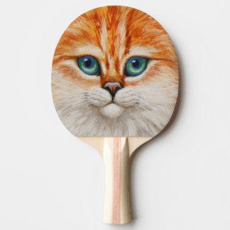 Pala De Ping Pong Cara anaranjada feliz del gatito