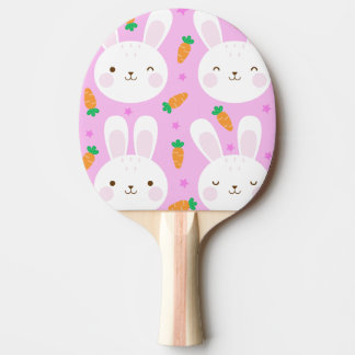 Pala De Ping Pong Conejitos y zanahorias lindos del dibujo animado