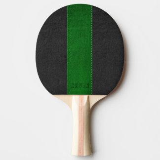 Pala De Ping Pong Cuero cosido negro y verde del vintage elegante