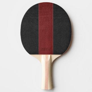 Pala De Ping Pong Cuero negro y rojo cosido del vintage elegante