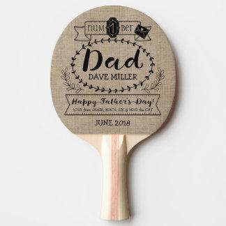 Pala De Ping Pong El día de padre feliz número 1 un logotipo del