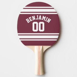 Pala De Ping Pong El jersey marrón y blanco raya número conocido de
