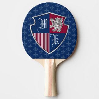 Pala De Ping Pong Escudo de plata del emblema del monograma del