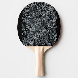 Pala De Ping Pong estilo floral de plata del embutido