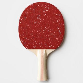 Pala De Ping Pong Estrellas del purpurina - rojo de plata