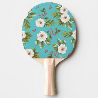 Pala De Ping Pong Flores blancas que pintan en fondo de la turquesa