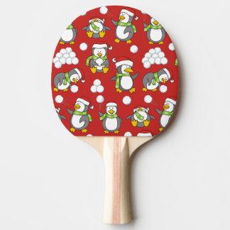 Pala De Ping Pong Fondo de los pingüinos del navidad