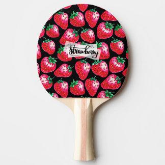 Pala De Ping Pong Fresa roja en fondo negro