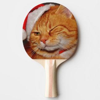 Pala De Ping Pong Gato anaranjado - gato de Papá Noel - Felices