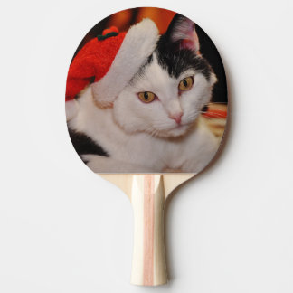 Pala De Ping Pong Gato de Papá Noel - Felices Navidad - acaricie el