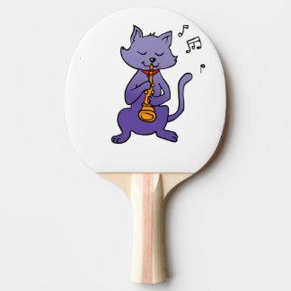 Pala De Ping Pong Gato del dibujo animado que toca la flauta