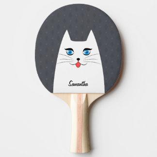 Pala De Ping Pong Gato lindo con la lengua que se pega hacia fuera