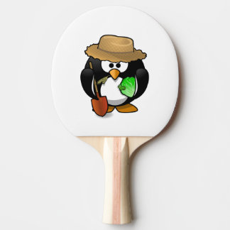 Pala De Ping Pong Granjero adorable del pingüino del dibujo animado