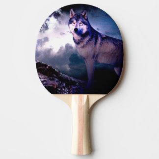 Pala De Ping Pong Lobo de la luna - lobo gris - lobo salvaje - lobo