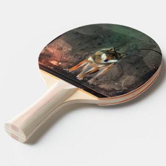 Pala De Ping Pong Lobo impresionante en fondo del vintage