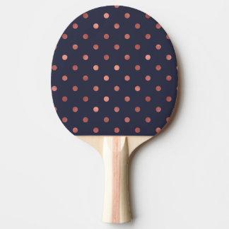 Pala De Ping Pong Lunares color de rosa del oro en fondo azul marino
