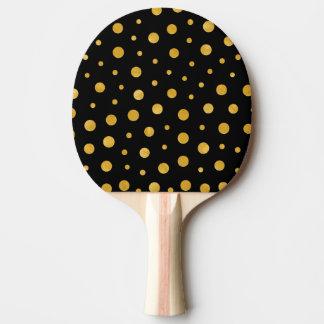 Pala De Ping Pong Lunares elegantes - oro negro