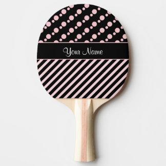 Pala De Ping Pong Lunares y rayas rosados en fondo negro