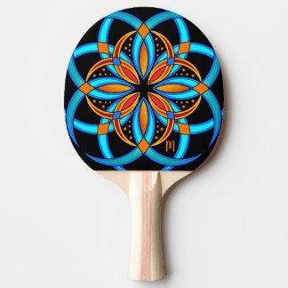 Pala De Ping Pong mandala geométrica anaranjada de la turquesa con