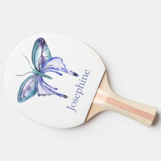 Pala De Ping Pong Mariposa púrpura azulada personalizada de la