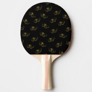 Pala De Ping Pong Mariposas metálicas del oro en negro