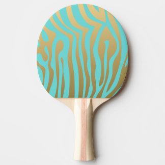 Pala De Ping Pong Modelo azul de las rayas del oro y de la cebra de