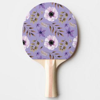 Pala De Ping Pong Modelo botánico floral púrpura dibujado romántico