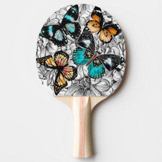 Pala De Ping Pong Modelo colorido del bosquejo de las mariposas