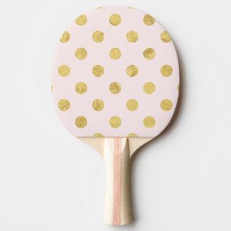 Pala De Ping Pong Modelo de lunar elegante de la hoja de oro - rosa