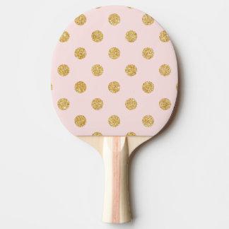 Pala De Ping Pong Modelo de lunares elegante del brillo del rosa y