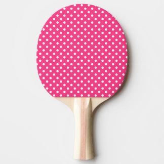 Pala De Ping Pong Modelo de lunares rosado y blanco