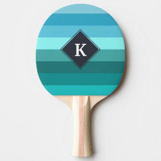 Pala De Ping Pong Monograma azul y ciánico de las rayas