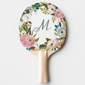 Pala De Ping Pong Monograma delicado precioso de las flores el |