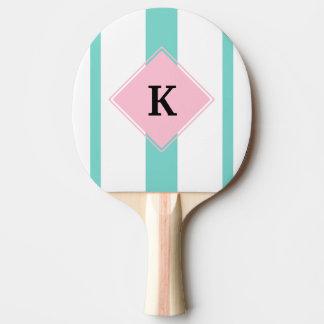 Pala De Ping Pong Monograma rosado de las rayas de la turquesa
