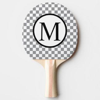 Pala De Ping Pong Monograma simple con el tablero de damas gris