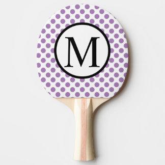 Pala De Ping Pong Monograma simple con los lunares de la lavanda